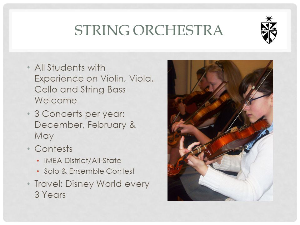 String orchestra All Students with Experience on Violin, Viola, Cello and String Bass Welcome. 3 Concerts per year: December, February & May.
