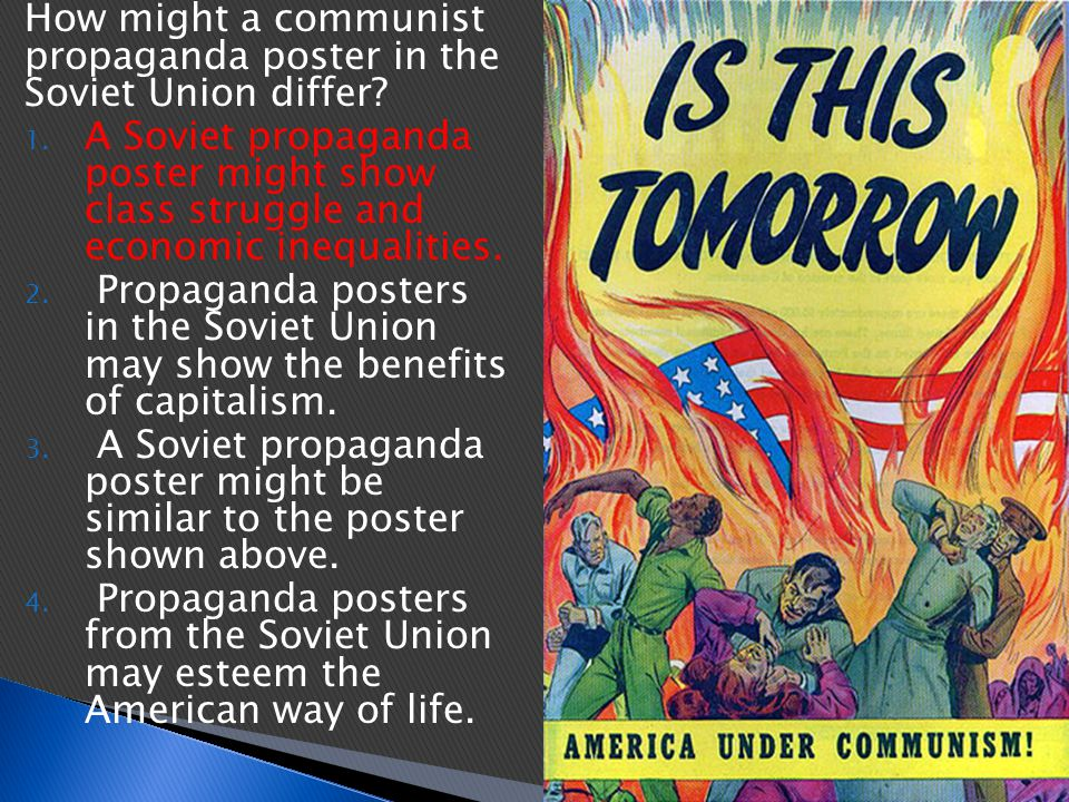 How might a communist propaganda poster in the Soviet Union differ