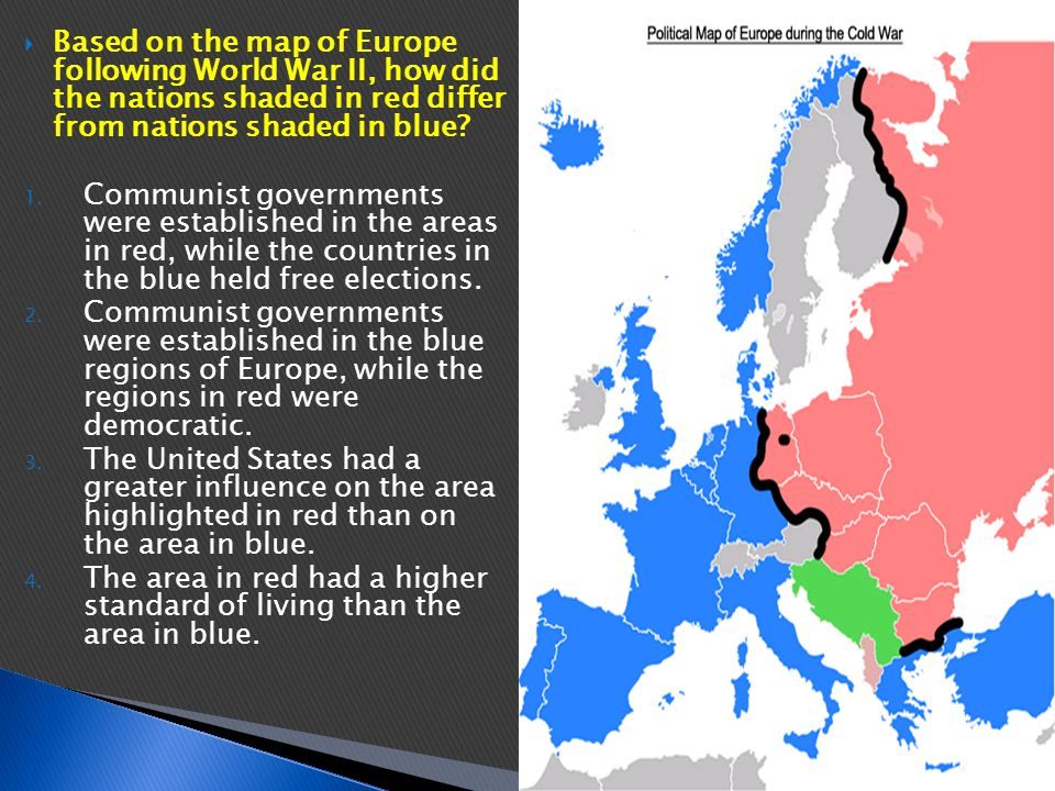 Based on the map of Europe following World War II, how did the nations shaded in red differ from nations shaded in blue