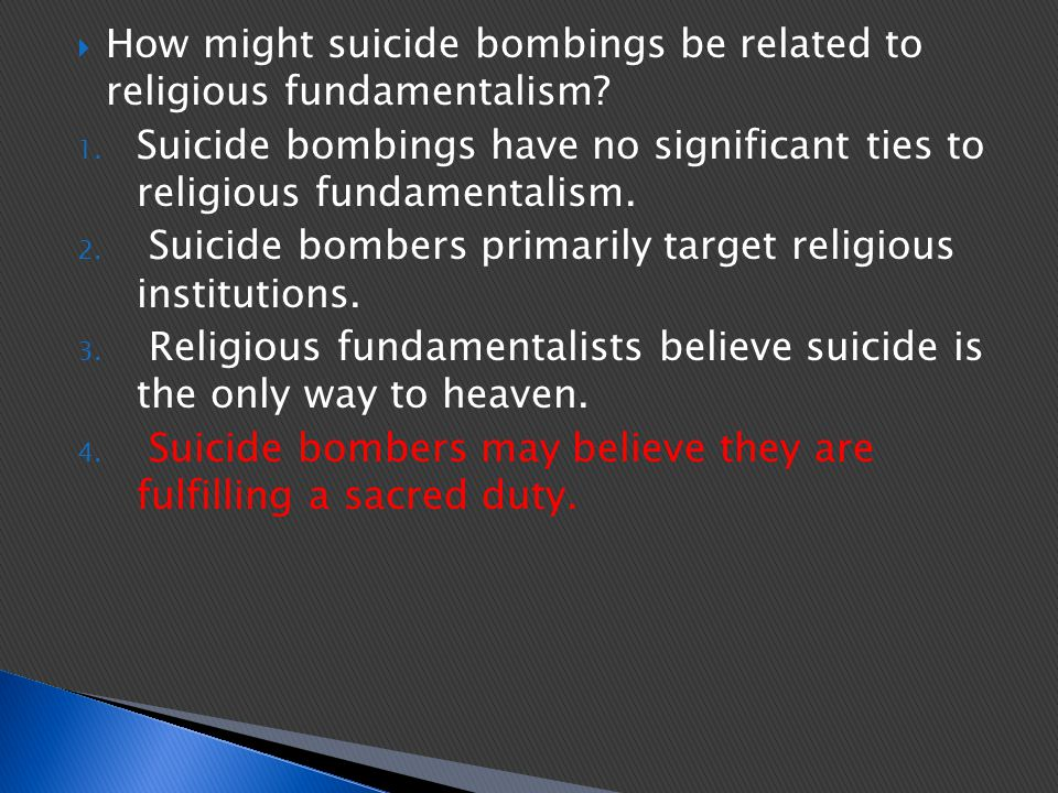 How might suicide bombings be related to religious fundamentalism
