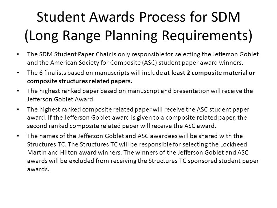 Student Awards Process for SDM (Long Range Planning Requirements)