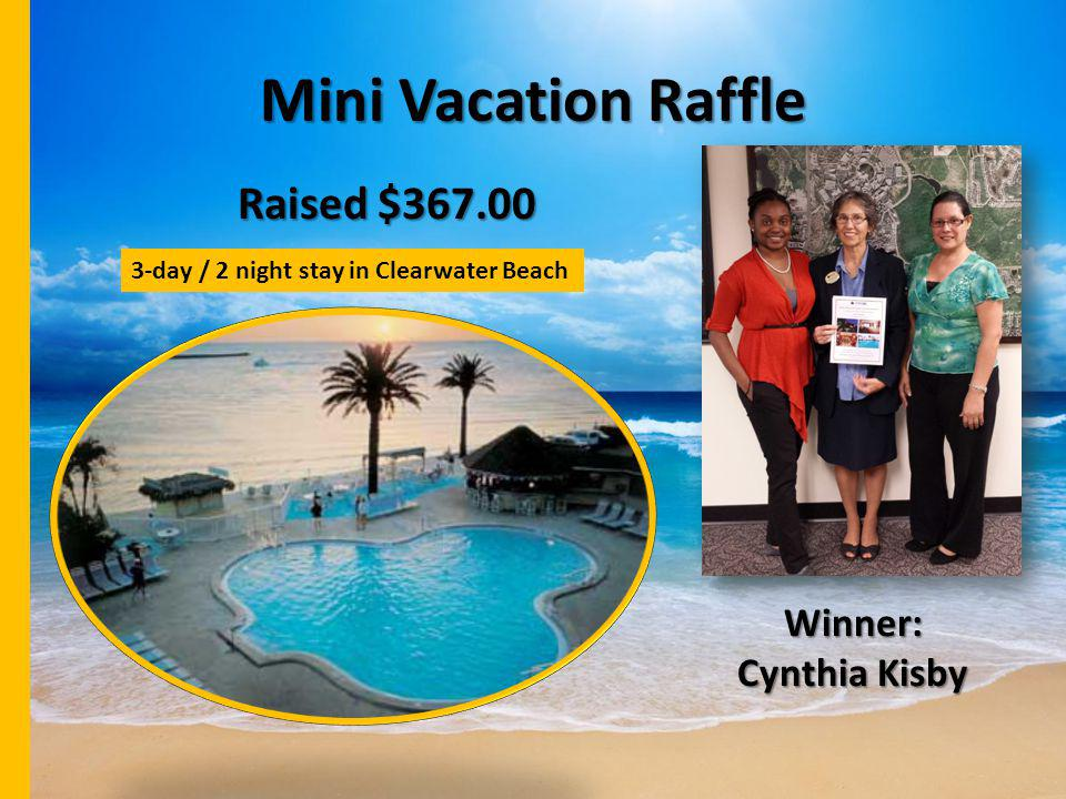 Mini Vacation Raffle Raised $367.00 Winner: Cynthia Kisby