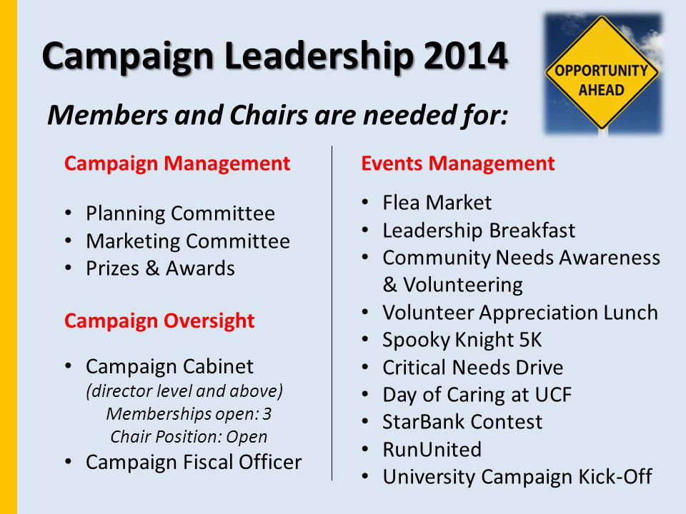 Campaign Leadership 2014 Members and Chairs are needed for: