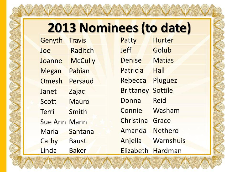 2013 Nominees (to date) Genyth Travis Joe Raditch Joanne McCully Megan