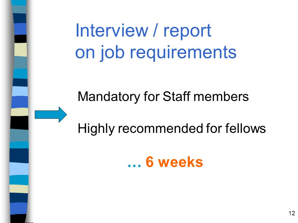 Interview / report on job requirements