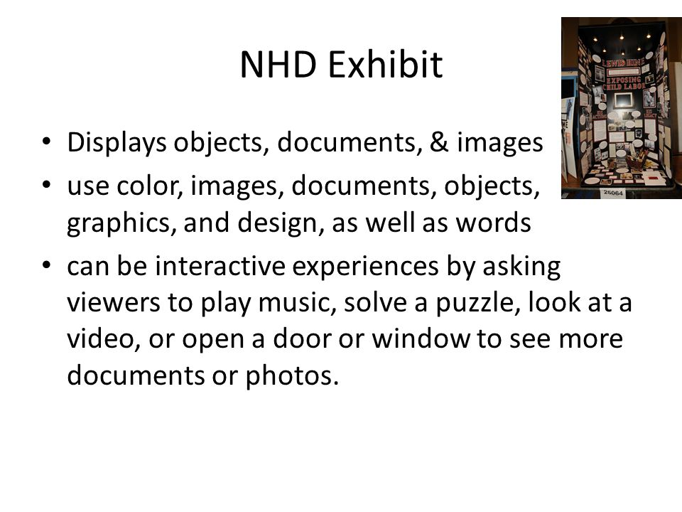 NHD Exhibit Displays objects, documents, & images