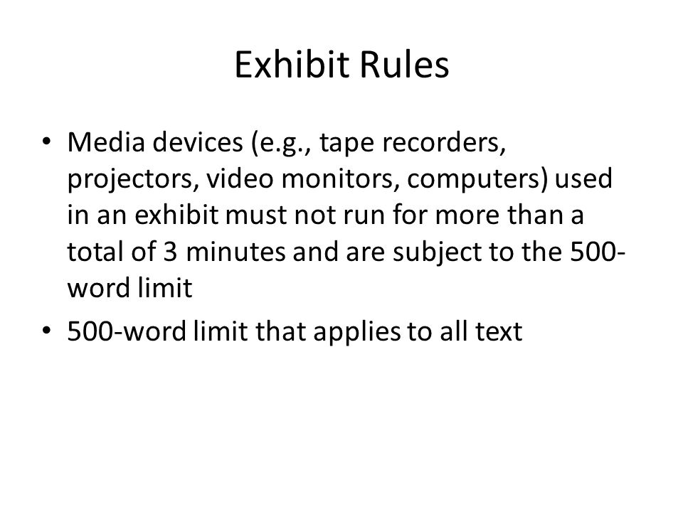 Exhibit Rules
