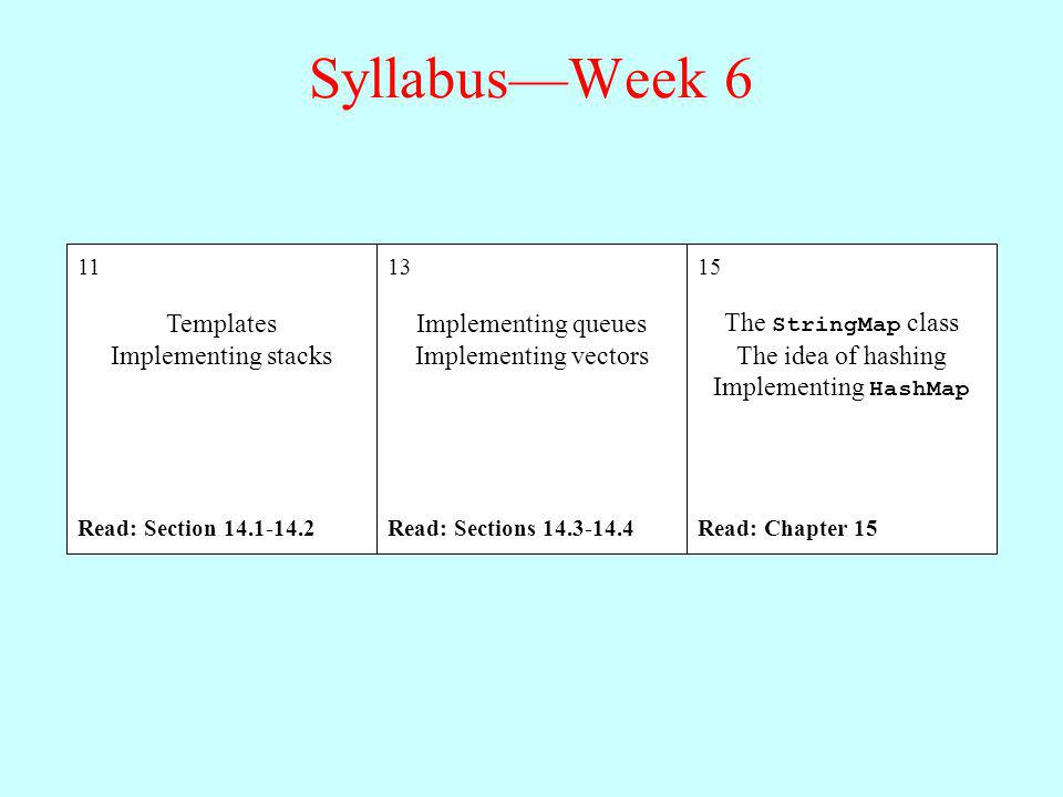 Syllabus—Week 6 Templates Implementing stacks Implementing queues