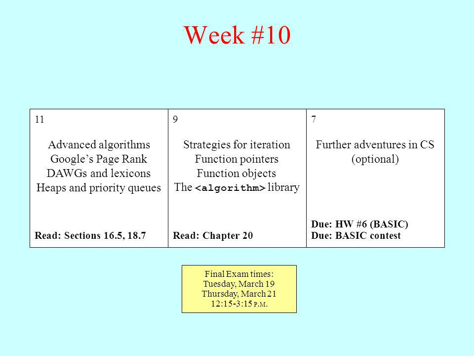 Week #10 Advanced algorithms Google's Page Rank DAWGs and lexicons