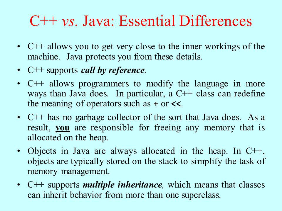C++ vs. Java: Essential Differences