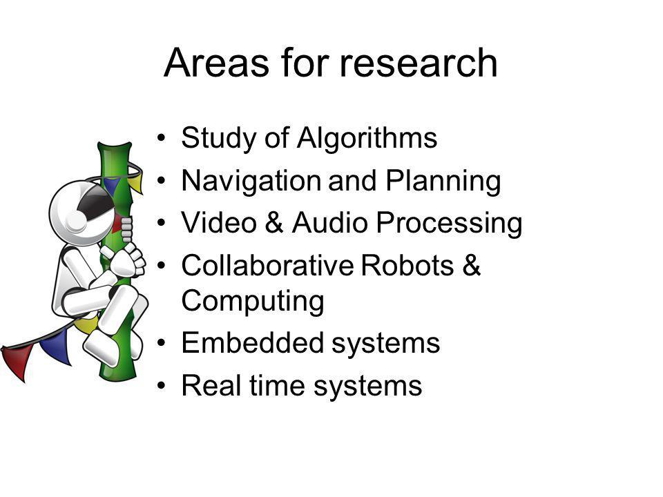 Areas for research Study of Algorithms Navigation and Planning