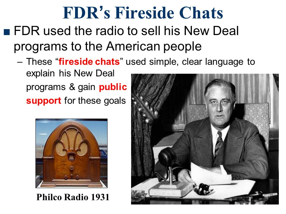 FDR's Fireside Chats FDR used the radio to sell his New Deal programs to the American people.