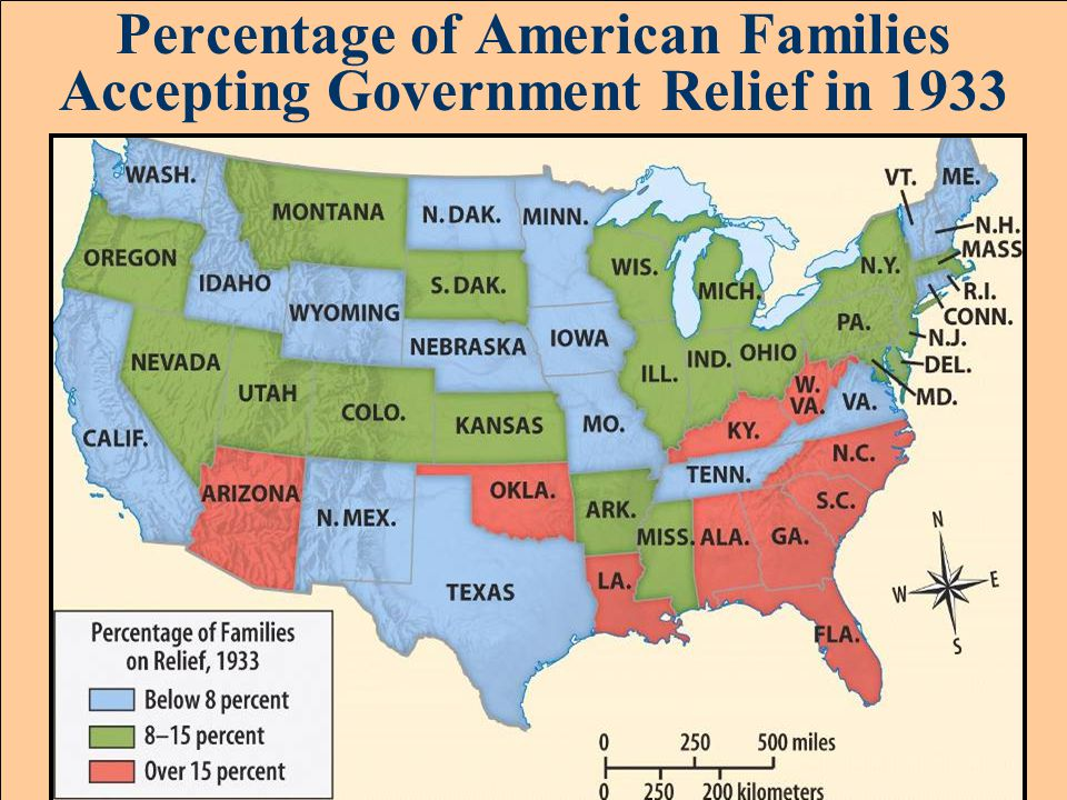 Percentage of American Families Accepting Government Relief in 1933