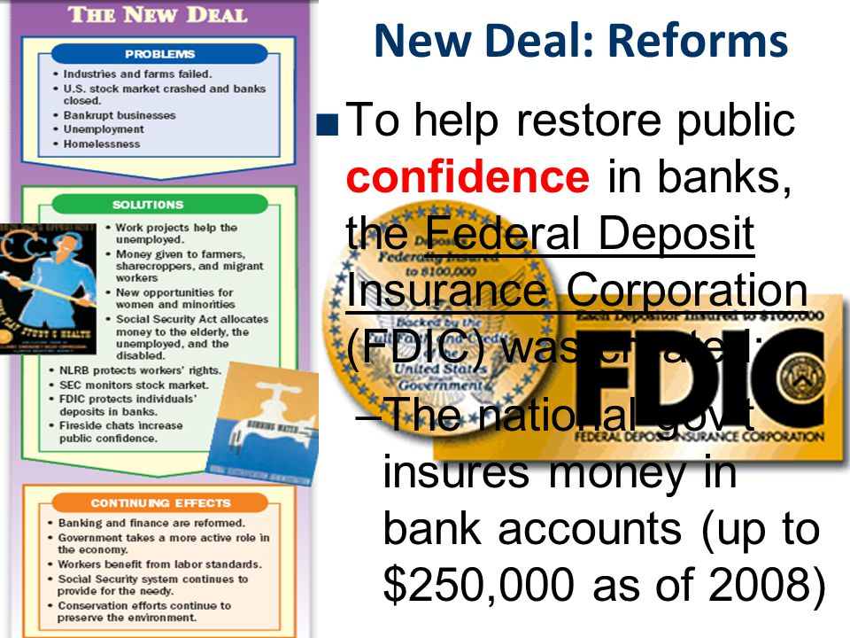 New Deal: Reforms To help restore public confidence in banks, the Federal Deposit Insurance Corporation (FDIC) was created: