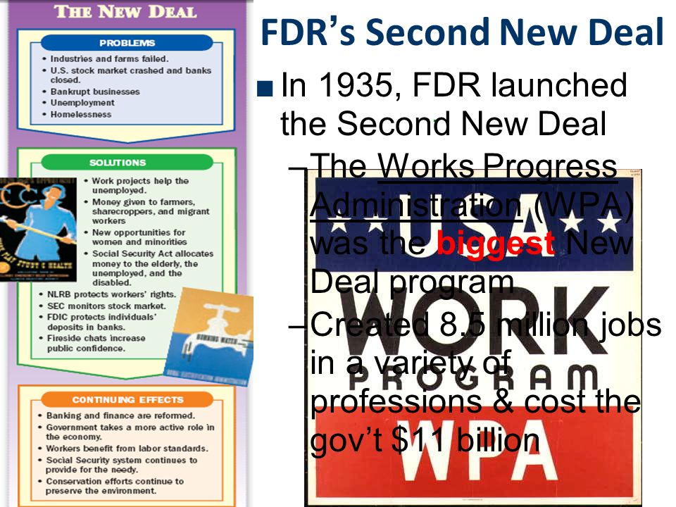 FDR's Second New Deal In 1935, FDR launched the Second New Deal
