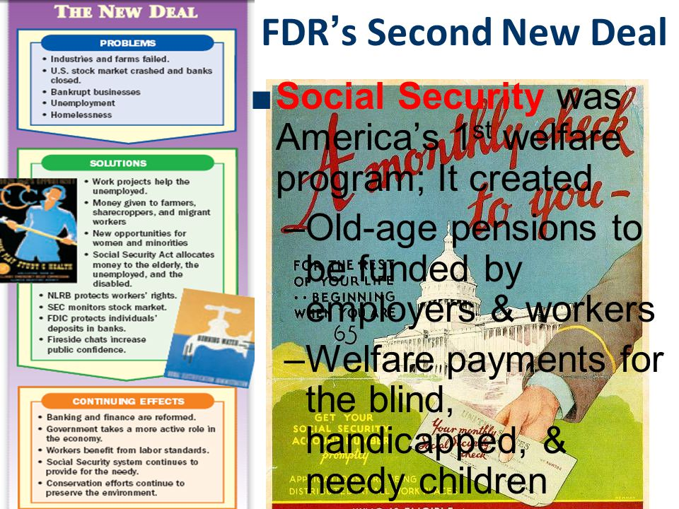 FDR's Second New Deal Social Security was America's 1st welfare program; It created. Old-age pensions to be funded by employers & workers.