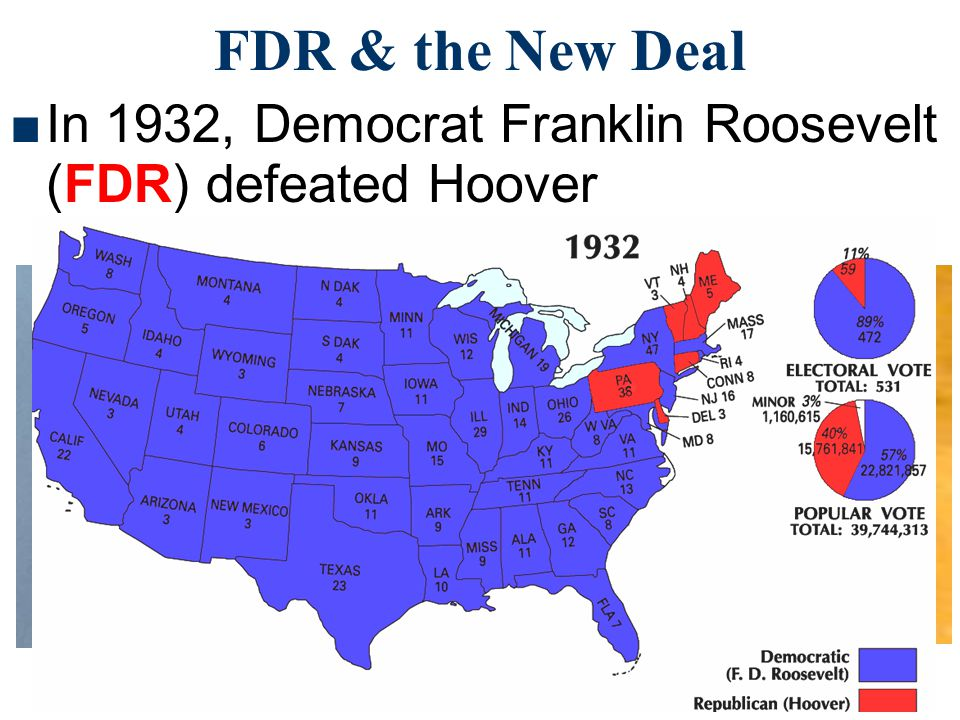 FDR & the New Deal In 1932, Democrat Franklin Roosevelt (FDR) defeated Hoover