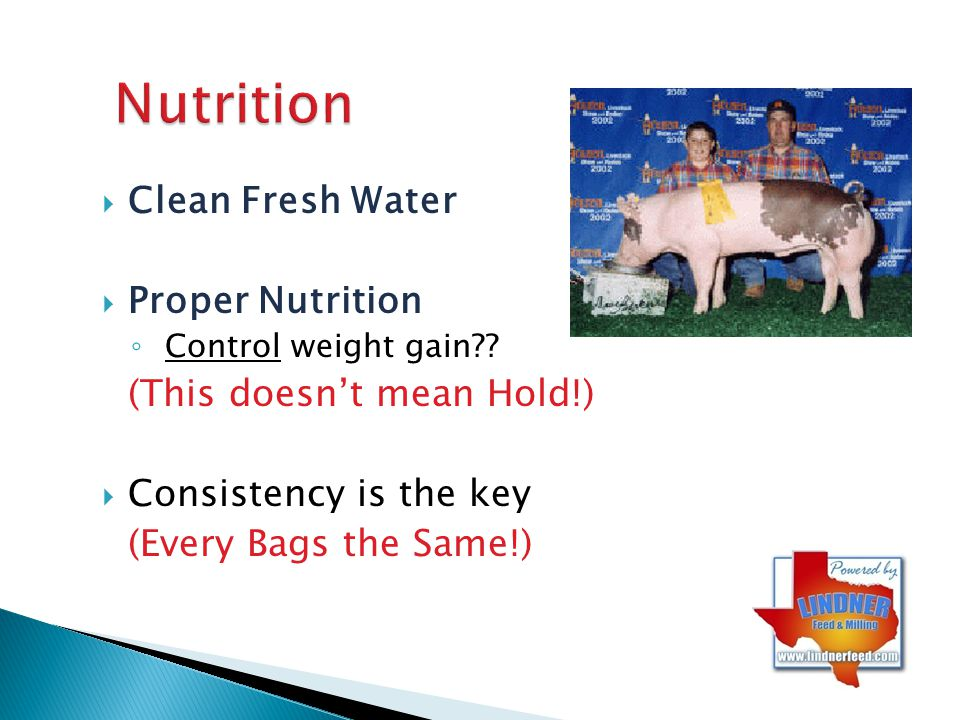Nutrition Clean Fresh Water Proper Nutrition (This doesn't mean Hold!)