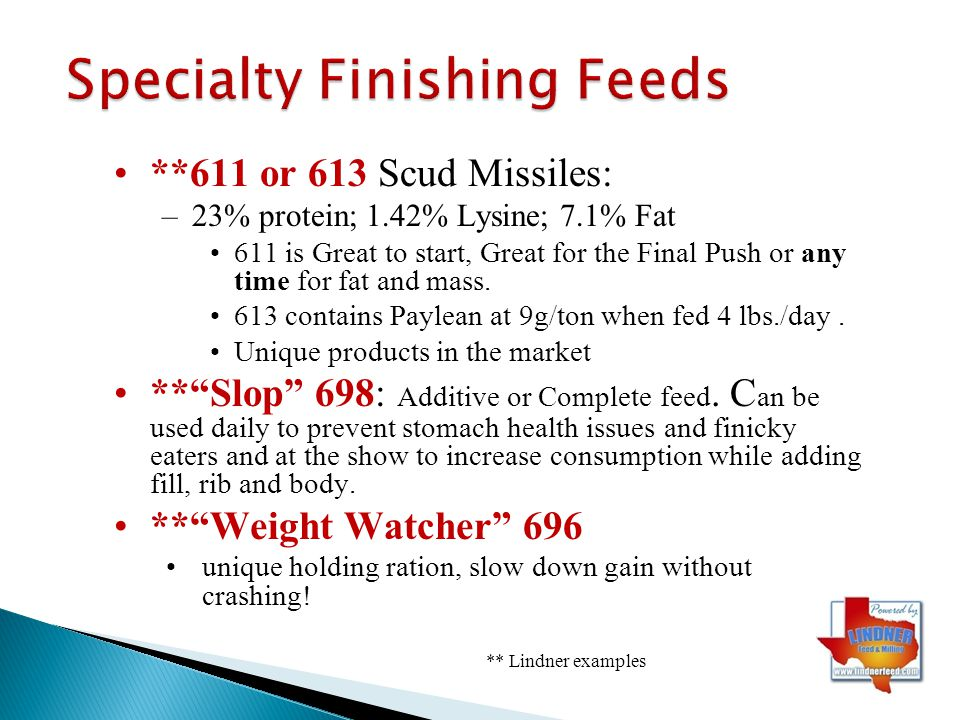 Specialty Finishing Feeds