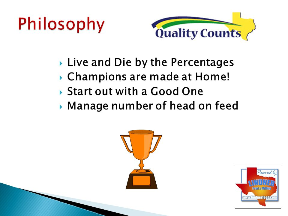 Philosophy Live and Die by the Percentages Champions are made at Home!