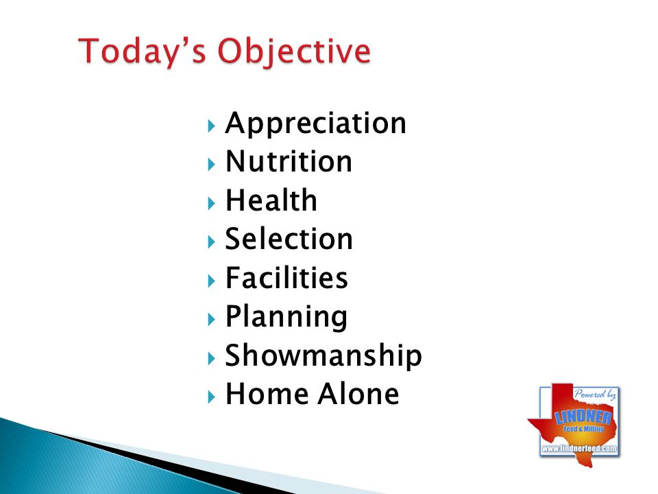 Today's Objective Appreciation Nutrition Health Selection Facilities