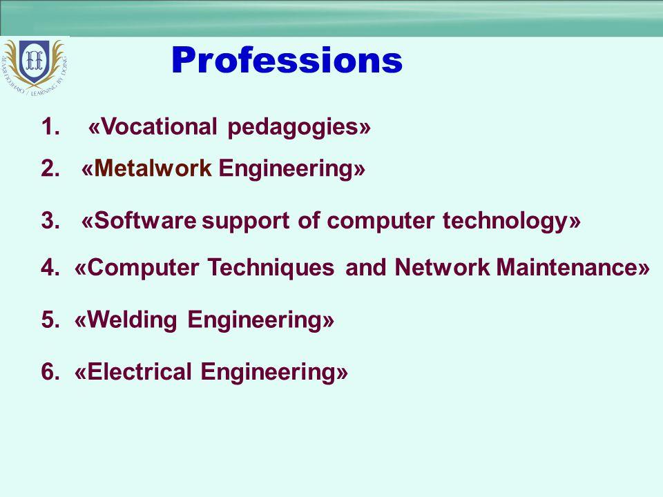 Professions 1. «Vocational pedagogies» 2. «Metalwork Engineering»