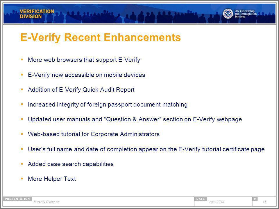 E-Verify Recent Enhancements