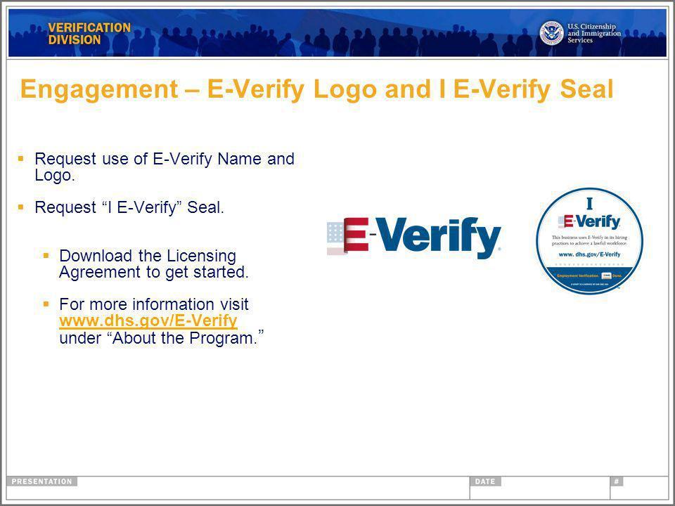 Engagement – E-Verify Logo and I E-Verify Seal