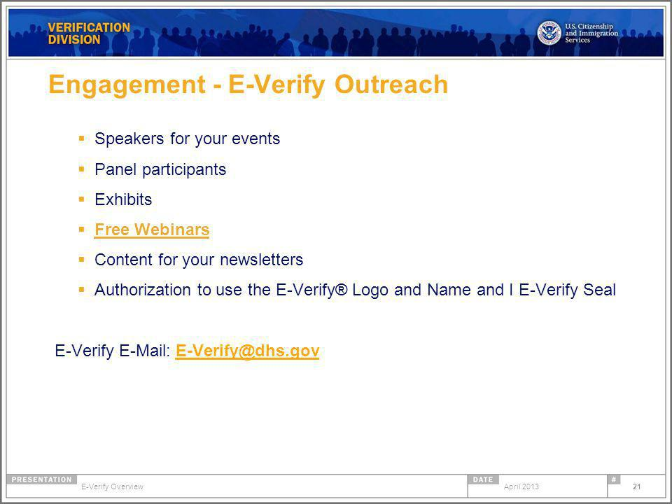 Engagement - E-Verify Outreach