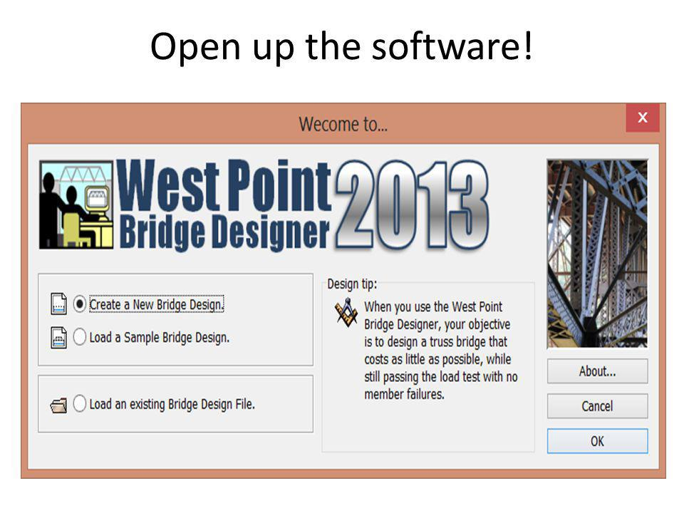 Open up the software!
