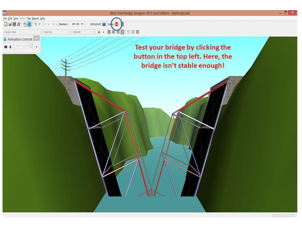Test your bridge by clicking the button in the top left