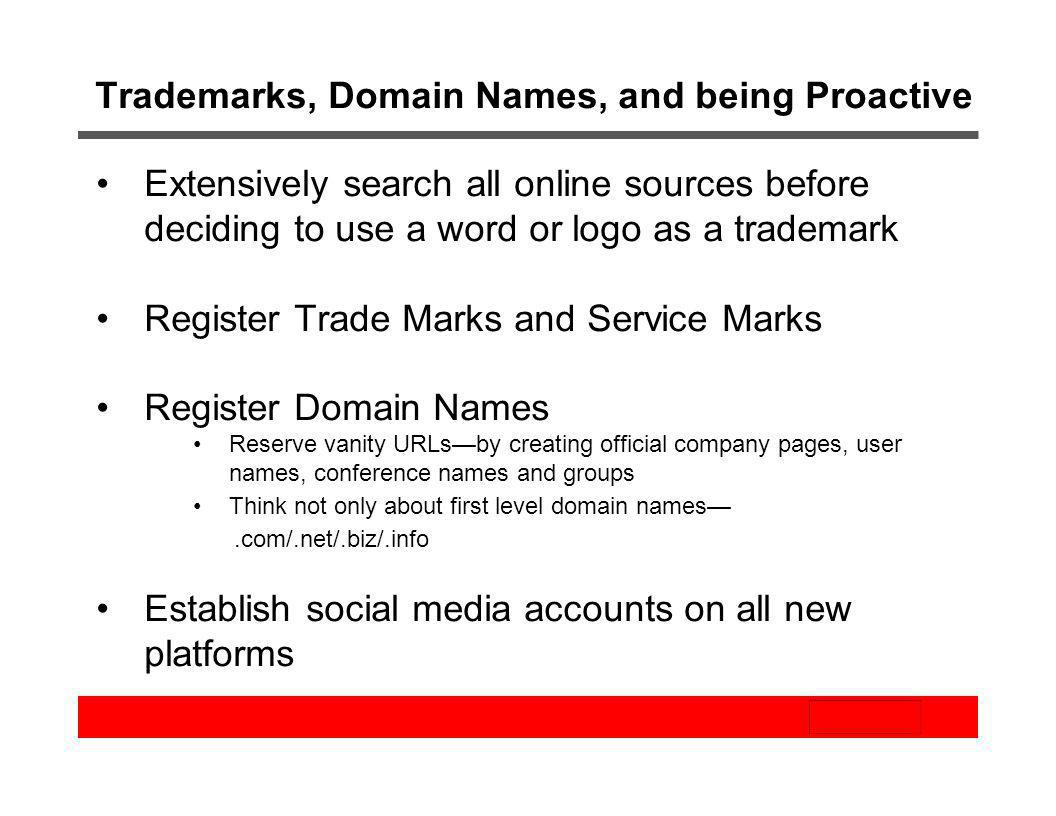 Trademarks, Domain Names, and being Proactive
