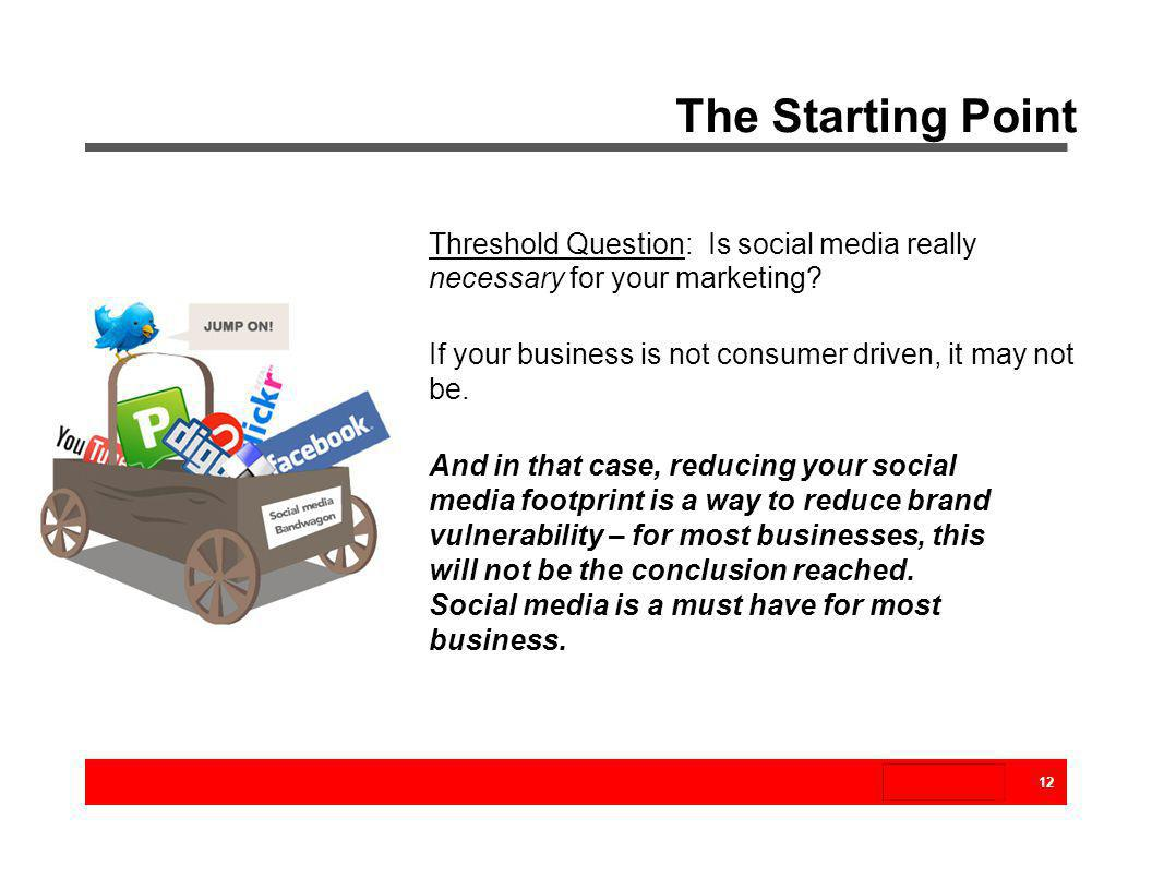 The Starting Point Threshold Question: Is social media really necessary for your marketing If your business is not consumer driven, it may not be.