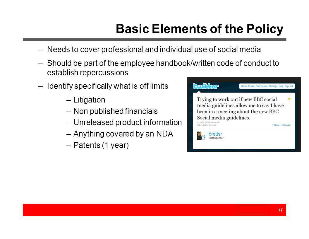 Basic Elements of the Policy