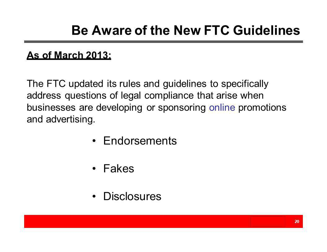 Be Aware of the New FTC Guidelines