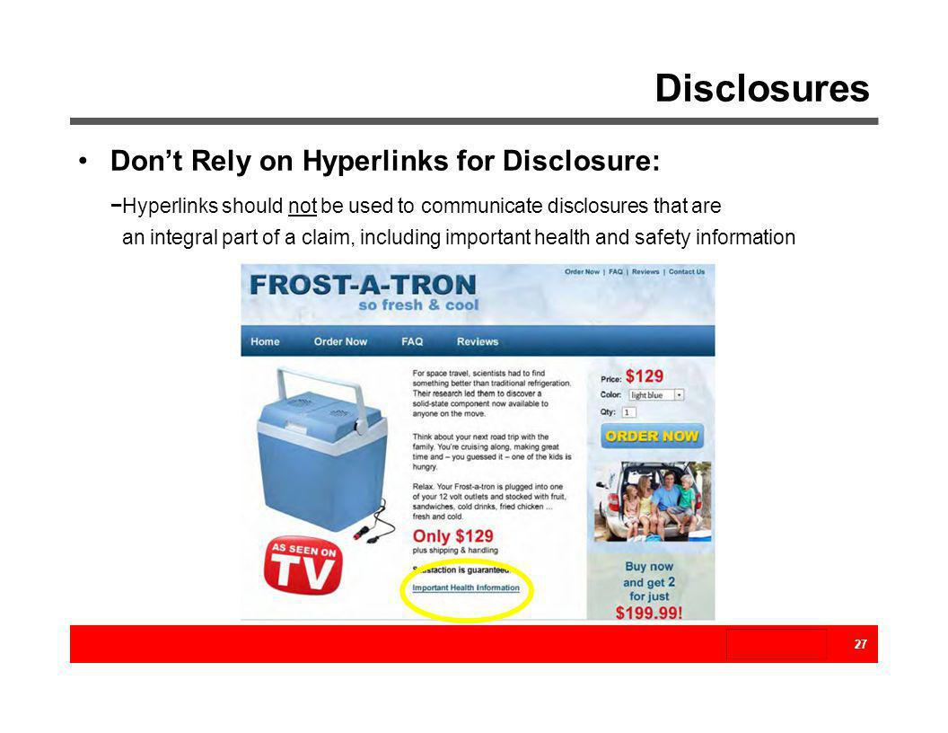 Disclosures Don't Rely on Hyperlinks for Disclosure: