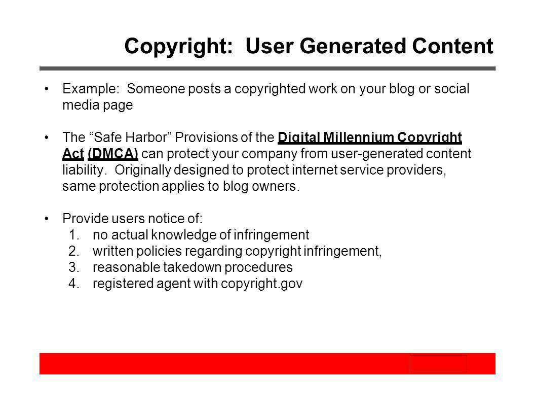 Copyright: User Generated Content