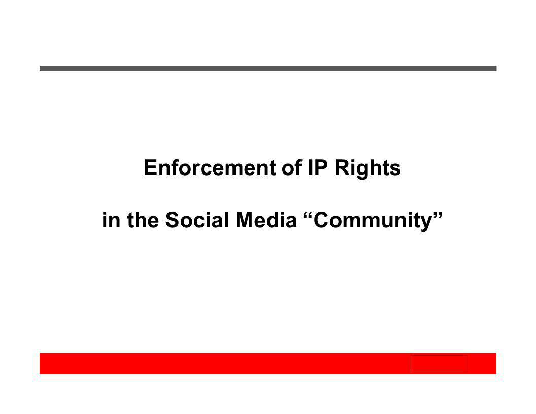 Enforcement of IP Rights in the Social Media Community