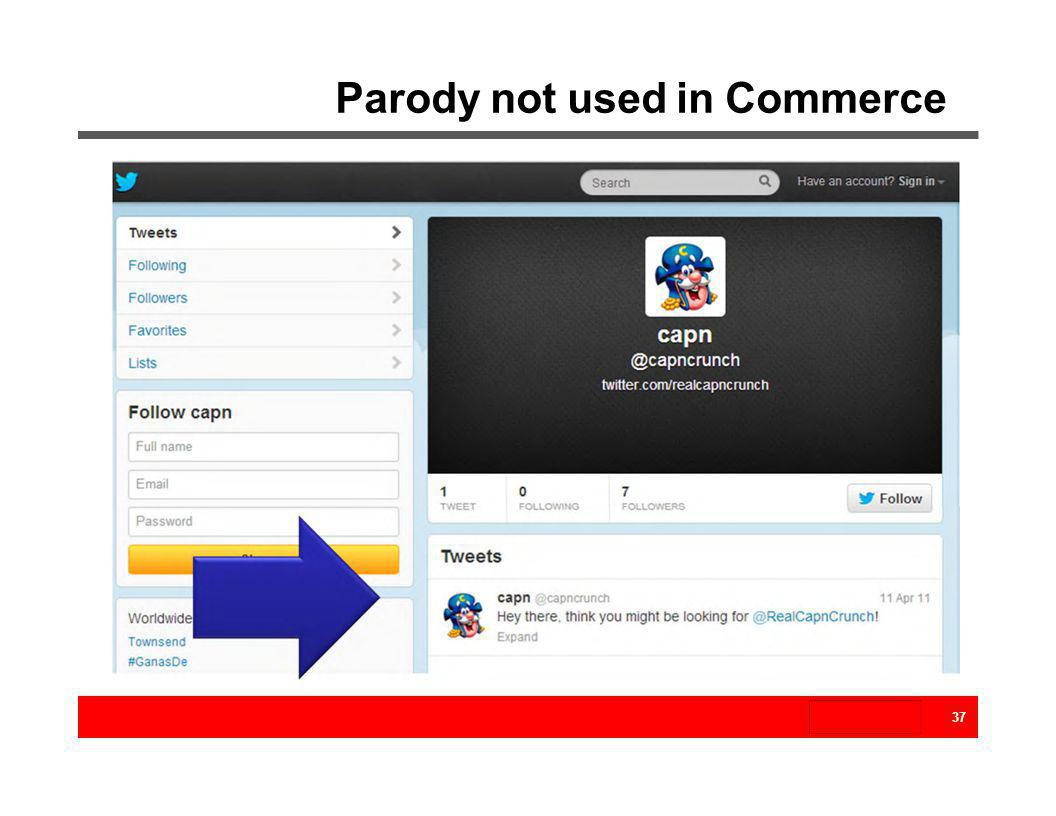 Parody not used in Commerce