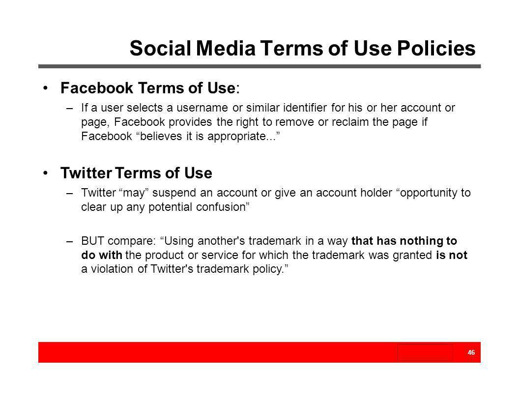 Social Media Terms of Use Policies
