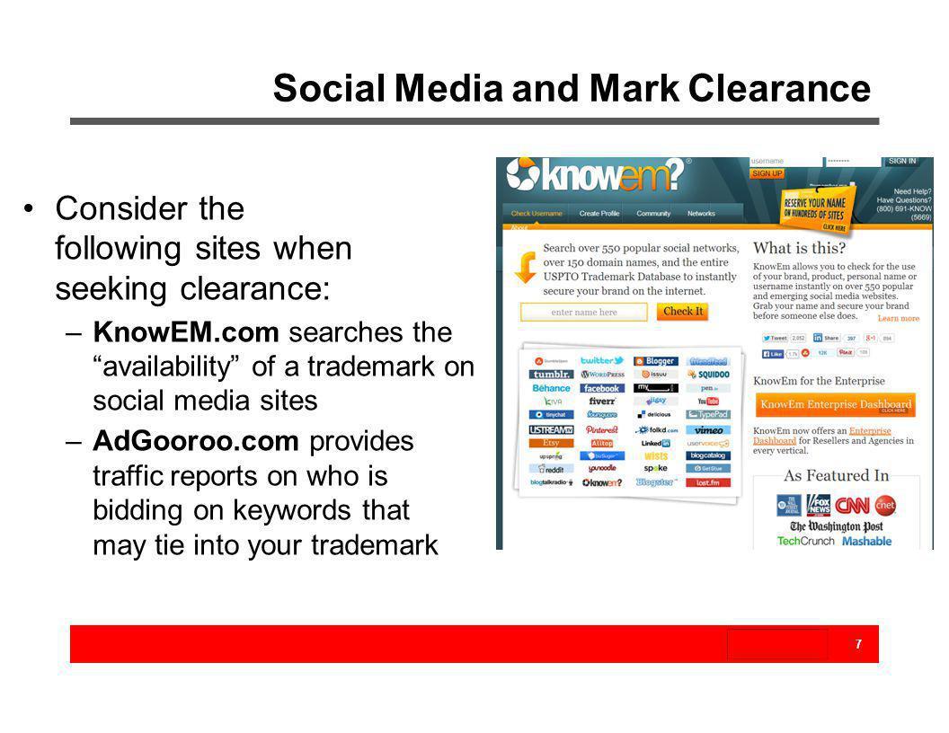 Social Media and Mark Clearance