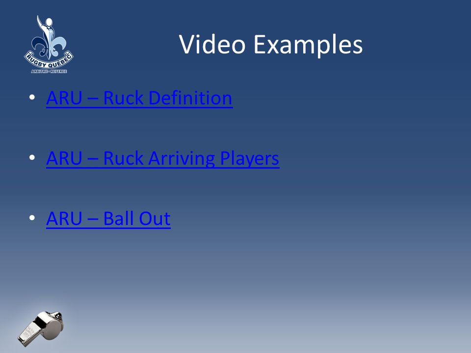 Video Examples ARU – Ruck Definition ARU – Ruck Arriving Players