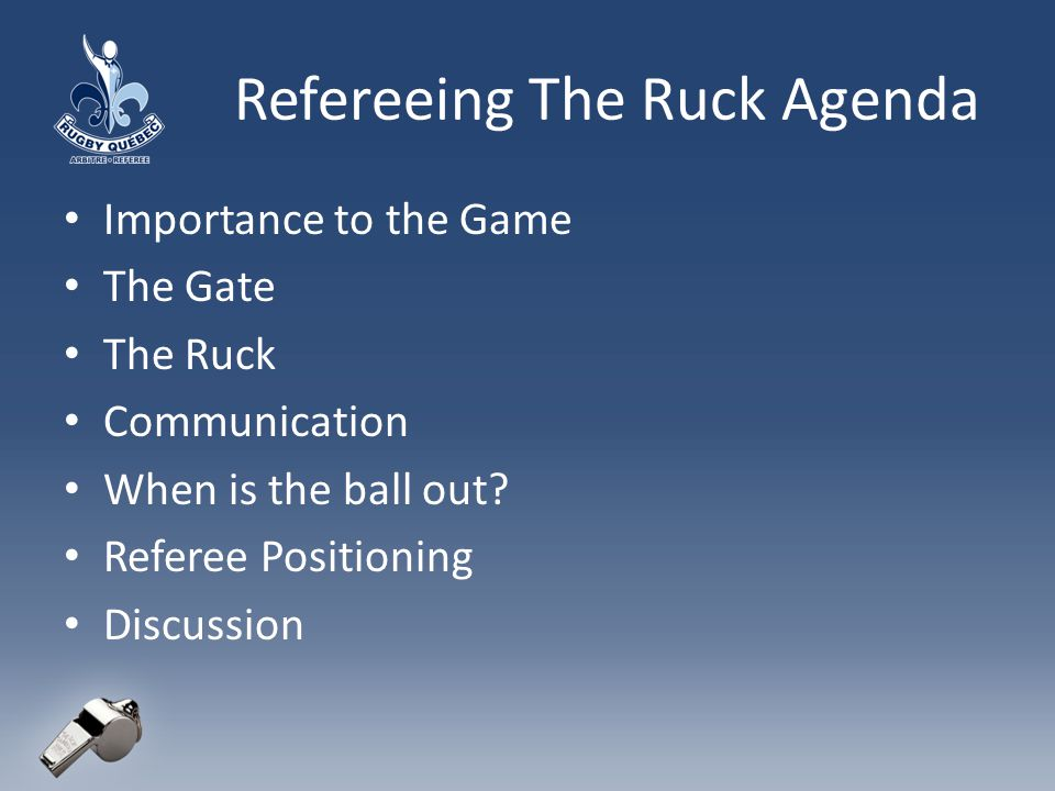 Refereeing The Ruck Agenda