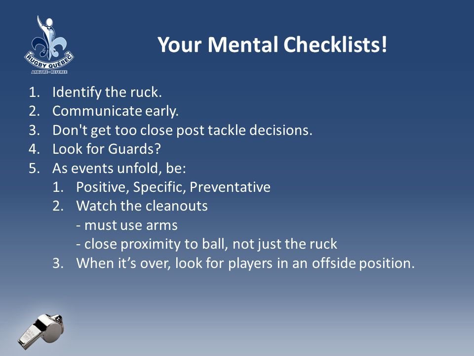 Your Mental Checklists!