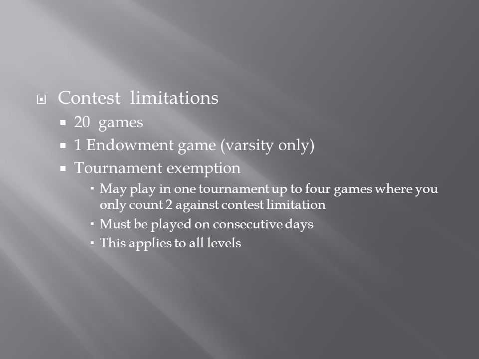 Contest limitations 20 games 1 Endowment game (varsity only)