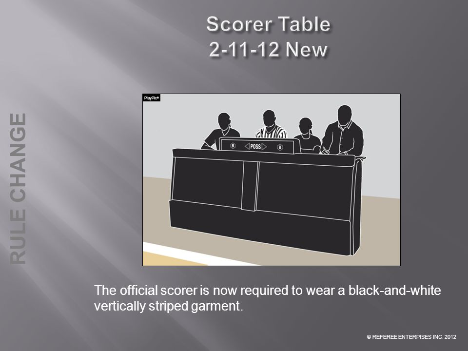 Scorer Table 2-11-12 New PlayPic® The official scorer is now required to wear a black-and-white vertically striped garment.