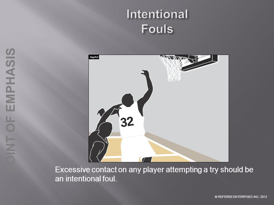 Intentional Fouls PlayPic® INTENTIONAL FOUL: Excessive contact on any player attempting a try should be an intentional foul.
