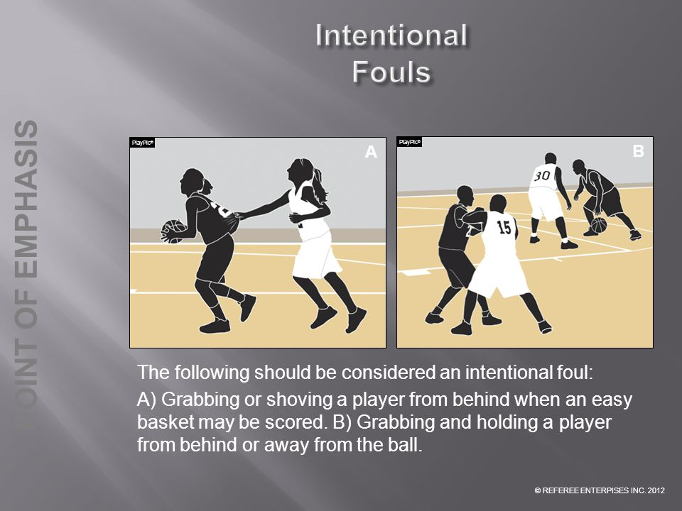 Intentional Fouls PlayPic® A. PlayPic® PlayPic® B. B. INTENTIONAL FOUL: The following should be considered an intentional foul: