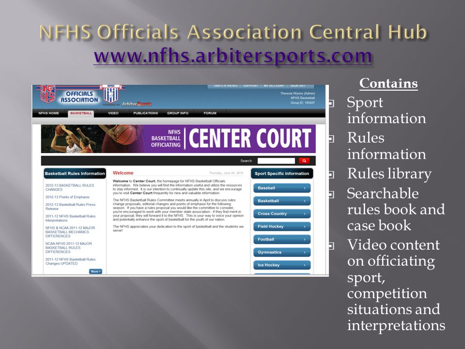 NFHS Officials Association Central Hub www.nfhs.arbitersports.com