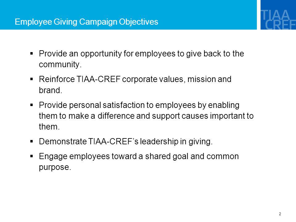 Employee Giving Campaign Objectives